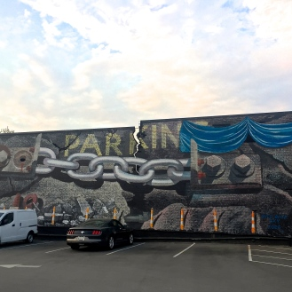 5pts. Steel Chain Mural (714 Santee Avenue) by Blue Sky