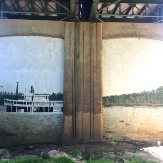 Steamboats Mural (Three River's Greenway riverwalk/under trestle) by Ralph Waldrop