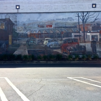 Historic Five Points Mural (700 Harden Street, left side wall) by Blue Sky